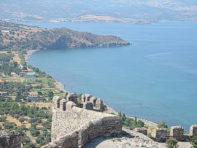 Magnificent views of Lesvos island and the Aegean Sea from the Byzantine castle of Molivos (Mithymna)